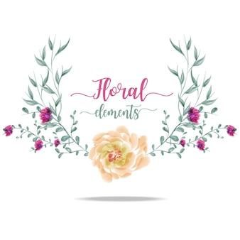 Foglie e fiori disegno acquerello.