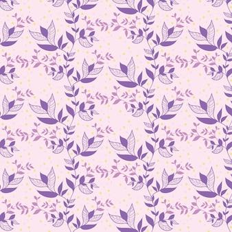 Foglie floreali viola senza cuciture con il fondo variopinto del punto