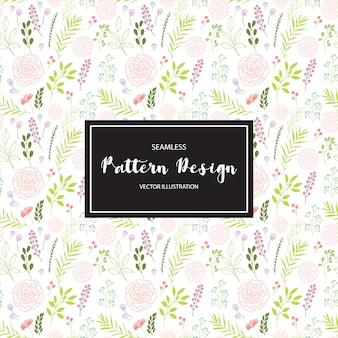 Foglie multicolori e fiori pattern di sfondo
