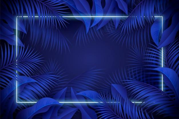Foglie realistiche con cornice al neon blu