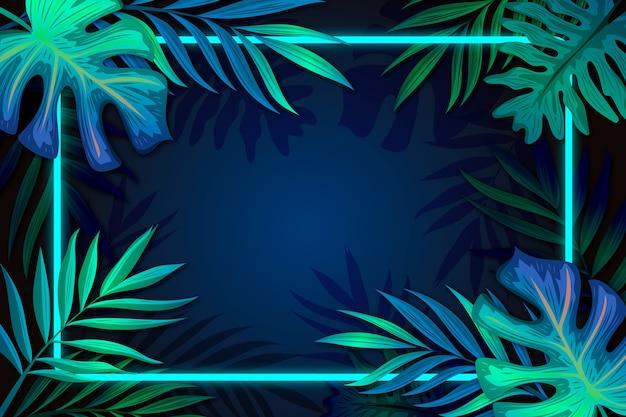Foglie realistiche con cornice al neon con spazio di copia