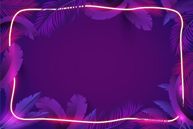 Foglie realistiche con cornice al neon