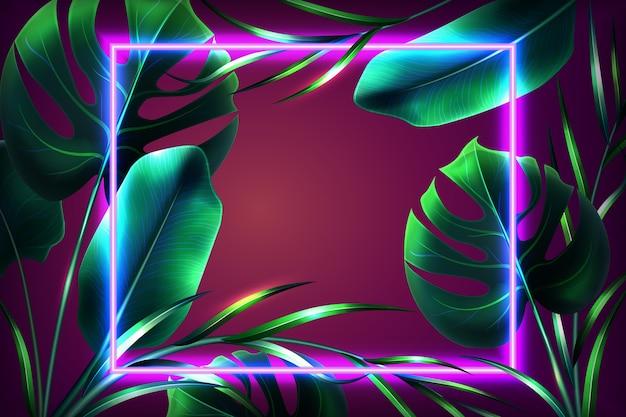 Foglie realistiche con design della carta da parati con cornice al neon