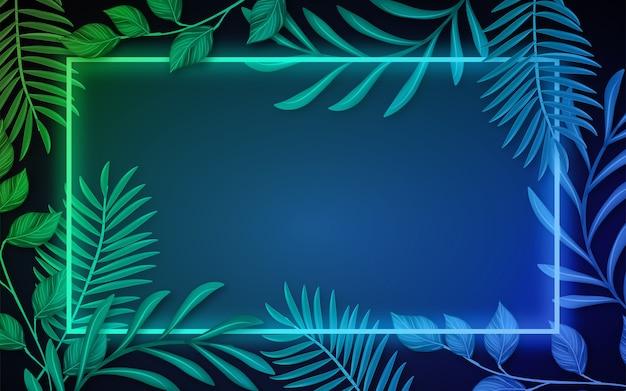 Foglie realistiche con sfondo cornice al neon