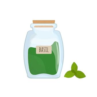 Foglie secche del basilico immagazzinate in barattolo di vetro isolato. erbe aromatiche, spezie alimentari o condimenti, ingrediente di cottura in un contenitore trasparente chiuso.