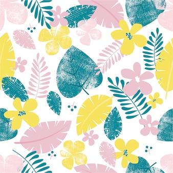 Foglie tropicali colorate senza cuciture e motivi floreali.