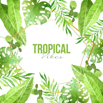 Foglie tropicali con cornice dorata