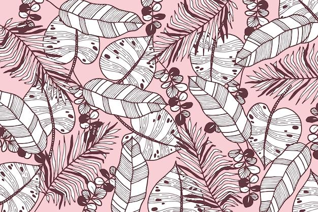 Foglie tropicali con sfondo di colore pastello