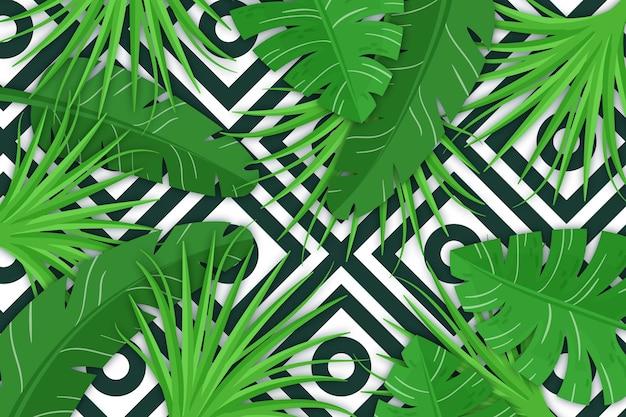 Foglie tropicali con sfondo geometrico