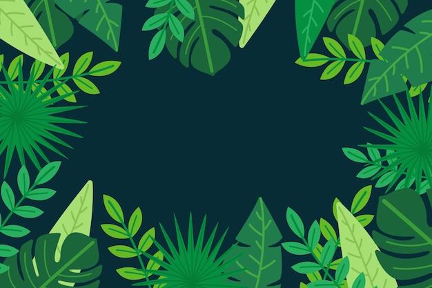 Foglie tropicali con sfondo spazio copia