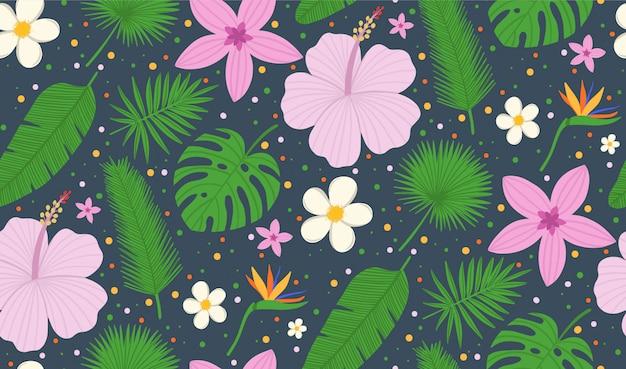 Foglie tropicali del modello senza cuciture della palma e dei fiori