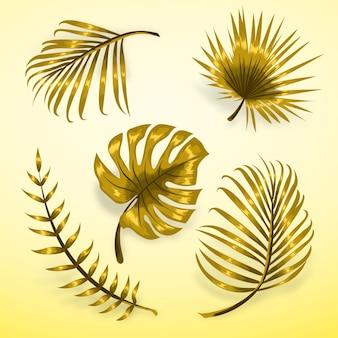 Foglie tropicali dorate monocromatiche