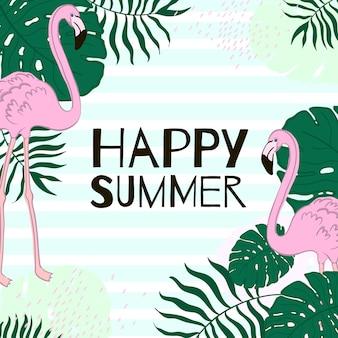 Foglie tropicali e banner estivo flamingo