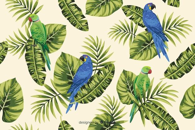 Foglie tropicali e sfondo di pappagalli