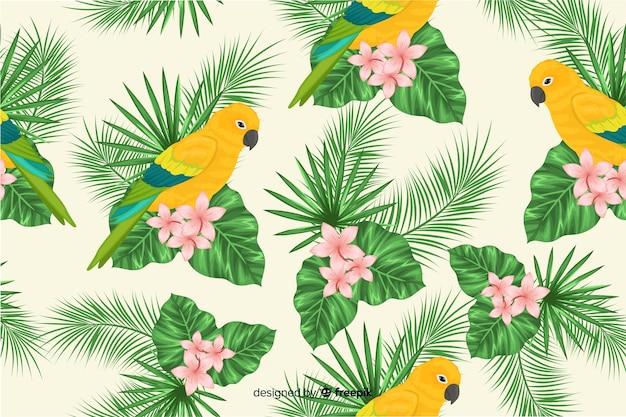 Foglie tropicali e sfondo di uccelli esotici