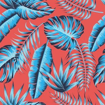 Foglie tropicali, foglie di giungla sfondo vettoriale motivo floreale senza soluzione di continuità