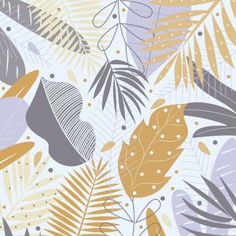 Foglie tropicali gialle e grigie su fondo pastello