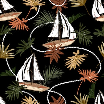 Foglie tropicali scure, barca e marinaio fune senza cuciture stile disegnato a mano