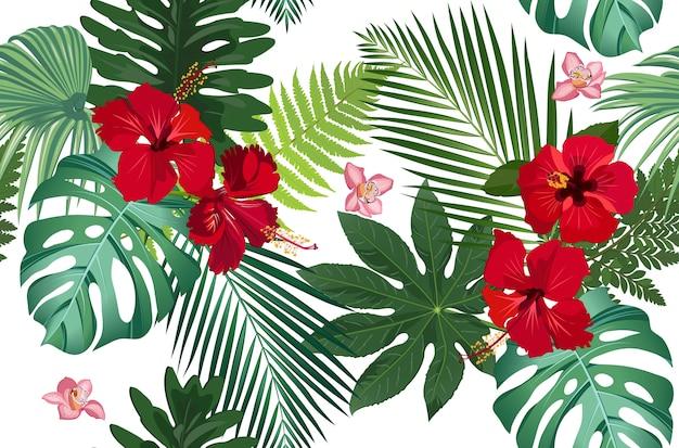 Foglie tropicali senza cuciture con il fiore
