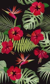 Foglie tropicali senza cuciture con l'ibisco rosso fiore e uccello del paradiso
