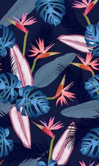Foglie tropicali senza cuciture con l'uccello del paradiso