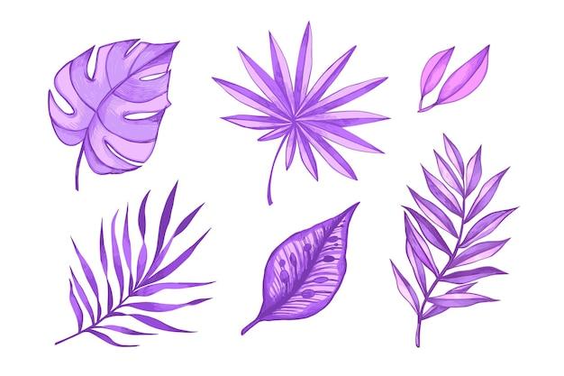 Foglie tropicali viola monocromatiche