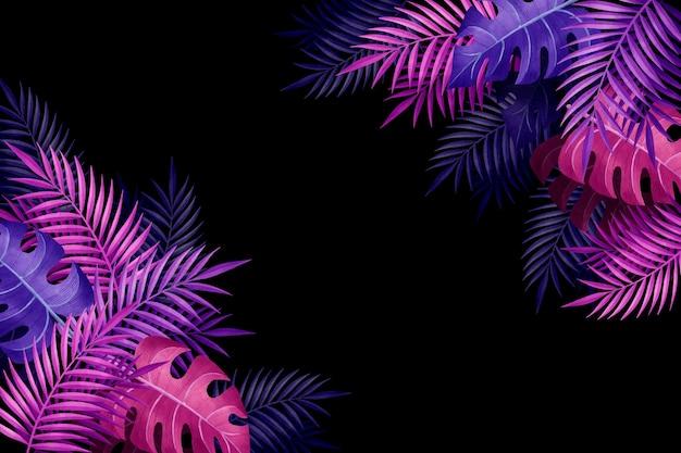 Foglie viola sfumato tropicale copia spazio