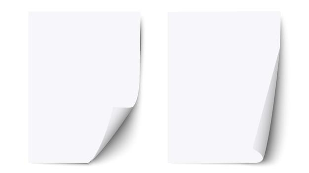 Foglio bianco bianco con angolo arricciato e ombra, foglio di carta