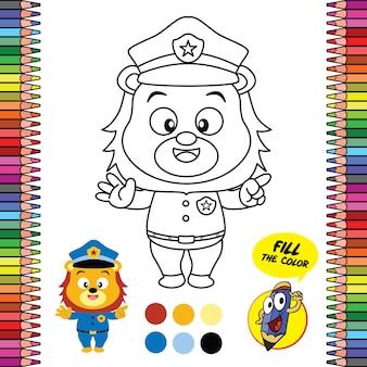 Foglio da colorare stampabile, giochi per la scuola del cervello del poliziotto leone