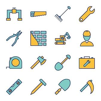 Foglio delle icone della costruzione
