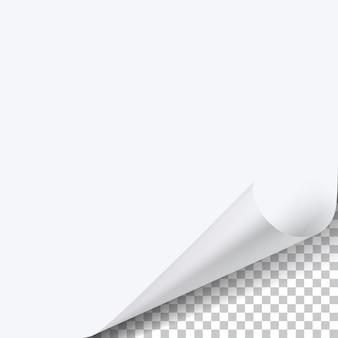 Foglio di carta ad angolo arricciato con ombra su trasparente
