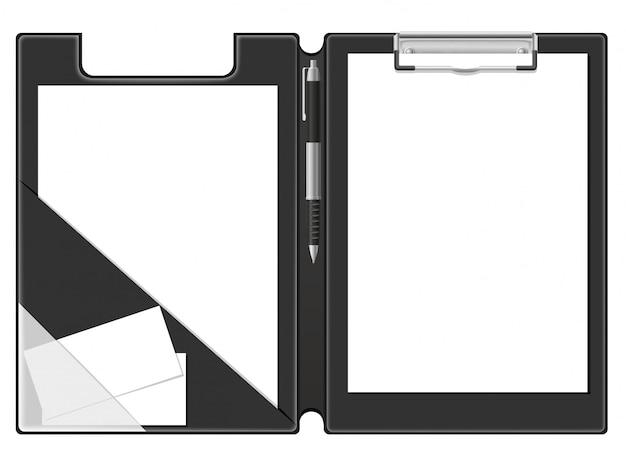 Foglio di carta bianca e penna della cartella per appunti