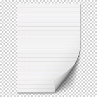 Foglio di carta bianco bianco con linee