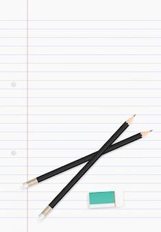 Foglio di carta bianco per sfondo di affari con matita e gomma.