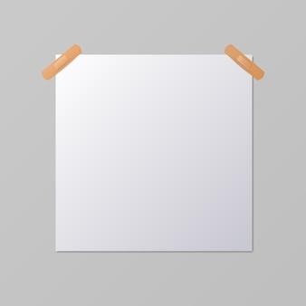 Foglio di carta quadrato bianco bianco, mock-up