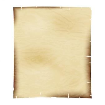 Foglio di carta vecchia su bianco