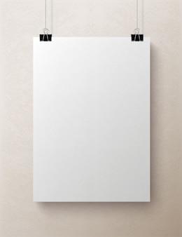 Foglio di carta verticale bianco bianco, mock-up