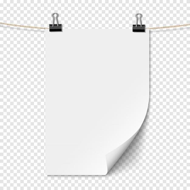 Foglio di carta vuoto bianco con ombra sulla corda