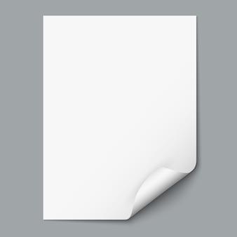 Foglio di carta vuoto con angolo arricciato
