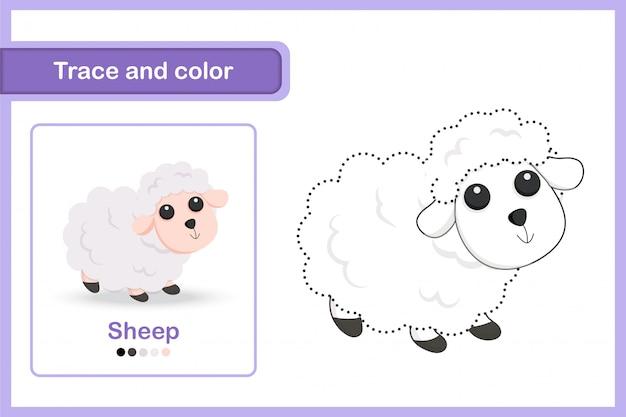 Foglio di disegno e di vocabolario, traccia e colore: pecora