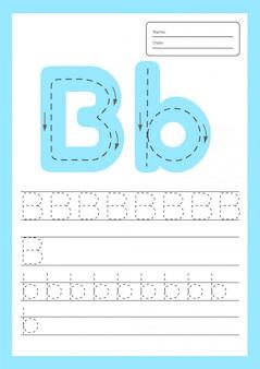 Foglio di lavoro con lettere di traccia per bambini in età prescolare e in età scolare.