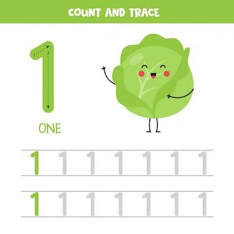 Foglio di lavoro con numeri di tracciamento. numero uno con simpatici cavoli kawaii.