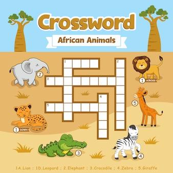 Foglio di lavoro dei giochi di puzzle degli animali africani delle parole incrociate