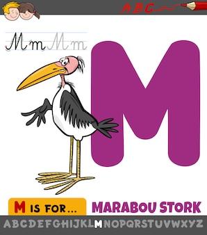 Foglio di lavoro della lettera m con uccello cicogna marabù del fumetto