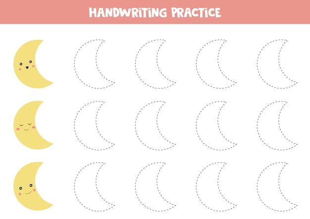 Foglio di lavoro di pratica della scrittura a mano con luna per bambini in età prescolare.