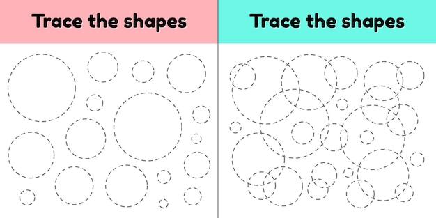 Foglio di lavoro di tracciamento educativo per bambini scuola materna, scuola materna ed età scolare. traccia la forma geometrica. linee tratteggiate cerchio.