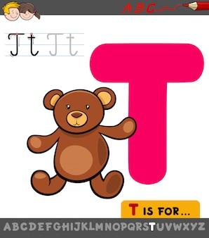 Foglio di lavoro educativo lettera t con orsacchiotto