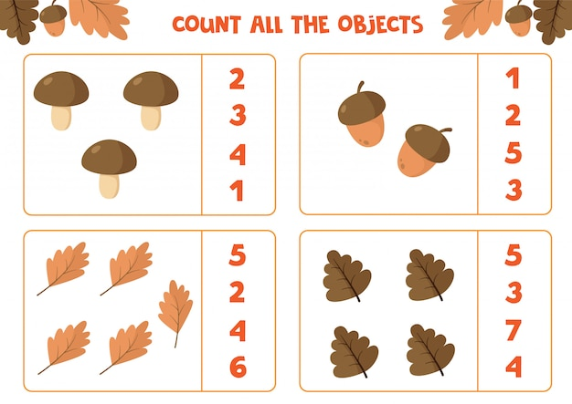 Foglio di lavoro educativo per bambini. conta tutti gli oggetti. gioco di matematica per bambini. set autunno.