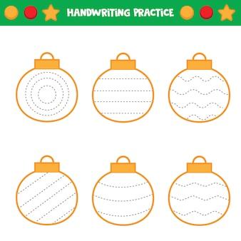 Foglio di lavoro educativo per bambini. tracciare le linee. traccia le palle. pratica della scrittura a mano.