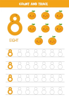 Foglio di lavoro per l'apprendimento dei numeri con graziose arance kawaii. numero 8